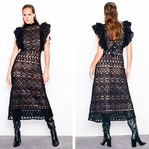 Zara Black Textured Dress with Ruffled Straps
